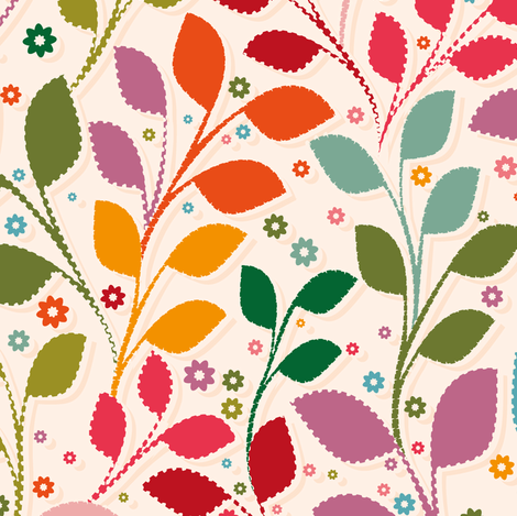 Leaves folk fabric by leventetladiscorde on Spoonflower - custom fabric