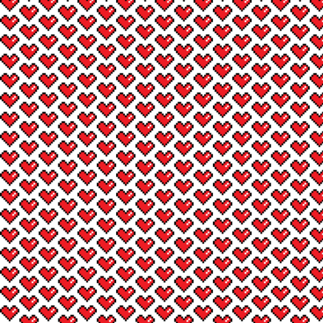 Pixel Heart (red) fabric by abandonedwarehouse on Spoonflower - custom fabric