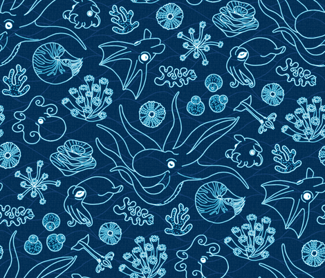 Cephalopods: Deep sea fabric by mia_valdez on Spoonflower - custom fabric