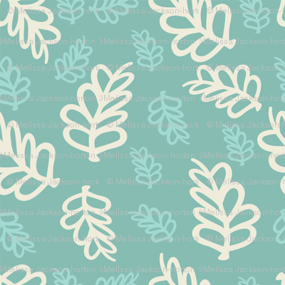 Falling Leaves in cream and mint