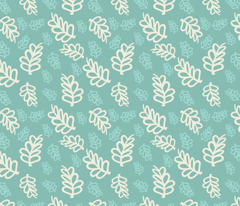 Falling Leaves in cream and mint fabric by leeleejack on Spoonflower - custom fabric