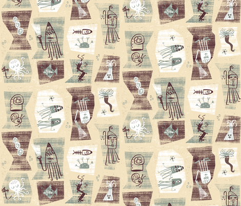 The way, way deep (cream) fabric by skbird on Spoonflower - custom fabric