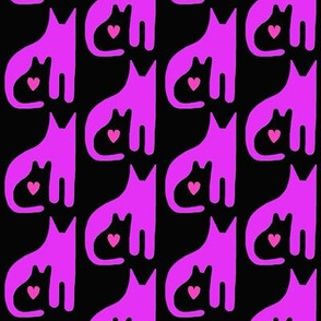 Cat Kitten Heart Purple Black