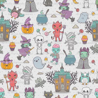 Funny happy halloween characters