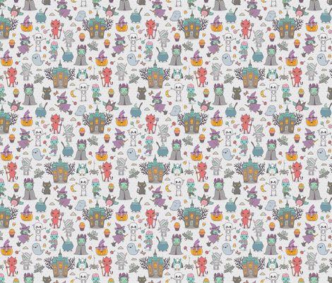 Funny happy halloween characters  fabric by kostolom3000 on Spoonflower - custom fabric