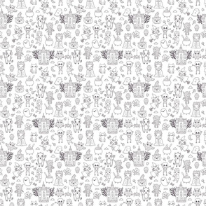 happy halloween characters pattern white