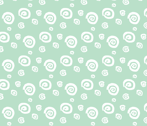 funky snail in mint & white fabric by lesenviesdecharlotte on Spoonflower - custom fabric