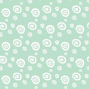 funky snail in mint & white