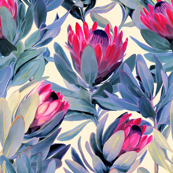 Painted Protea Floral - magenta and grey blue colorway