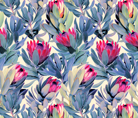 Painted Protea Floral - magenta and grey blue colorway fabric by micklyn on Spoonflower - custom fabric