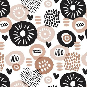 Retro flower blossom cute gender neutral pastel black and white florals in scandinavian style