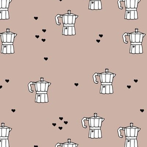 We love coffee fun moka machine italian coffee maker drink illustration for hipster barista an coffee lovers illustration print beige black and white