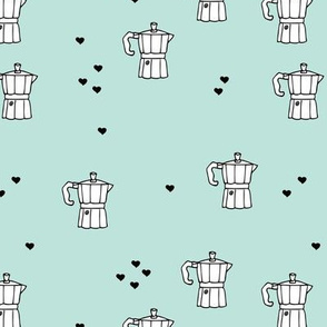 We love coffee fun moka machine italian coffee maker drink illustration for hipster barista an coffee lovers illustration print mint black and white