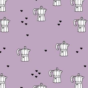 We love coffee fun moka machine italian coffee maker drink illustration for hipster barista an coffee lovers illustration print purple lilac violet black and white