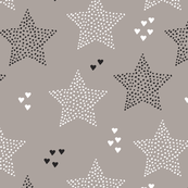 Twinkle twinkle little star cute baby nursery or christmas theme print in black white and dark night beige