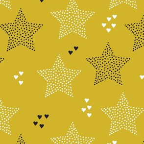 Twinkle twinkle little star cute baby nursery or christmas theme print in black white and dark night mustard yellow