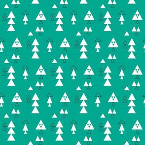 Triangles multi in white and black on emerald