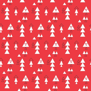 Triangles multi in white and black on coral