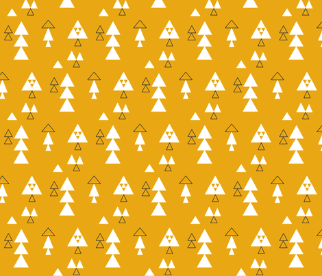 traingles multi in white on mustard fabric by lesenviesdecharlotte on Spoonflower - custom fabric
