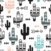 Fun aqua and coral pink cactus garden indian summer arrows geometric illustration pattern kids print