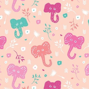 Adorable indian baby elephant summer flower blossom illustration for kids