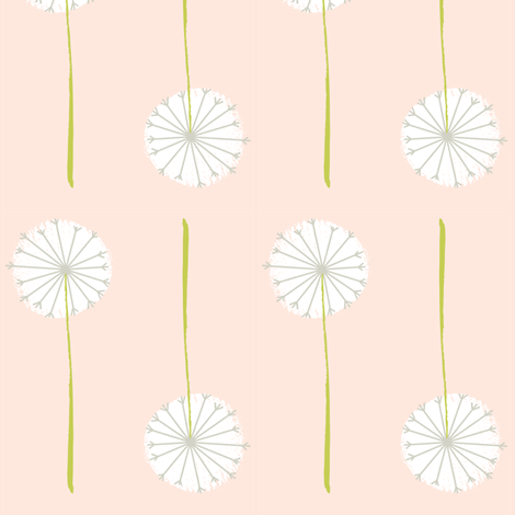 blush dandelion fabric by shindigdesignstudio on Spoonflower - custom fabric
