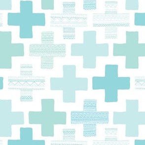 Plus plus cross geometric modern patterns in pastel blue and mint