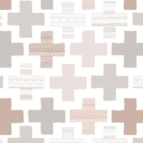 Plus plus cross geometric modern patterns in pastel beige and gray