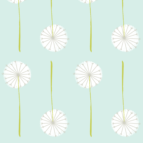 mint dandelion fabric by shindigdesignstudio on Spoonflower - custom fabric