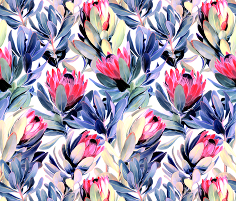 Painted Protea Floral - light version fabric by micklyn on Spoonflower - custom fabric
