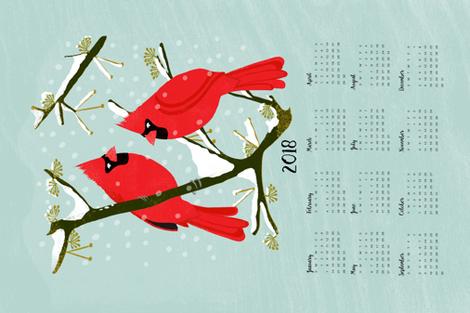 2018 Cardinals Tea Towel Calendar by Andrea Lauren  fabric by andrea_lauren on Spoonflower - custom fabric