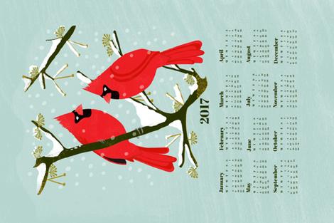 2017 Cardinals Tea Towel Calendar by Andrea Lauren  fabric by andrea_lauren on Spoonflower - custom fabric