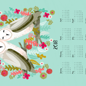 2018 Barn Owls Tea Towel Calendar by Andrea Lauren