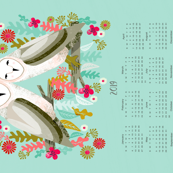 2019 Barn Owls Tea Towel Calendar by Andrea Lauren