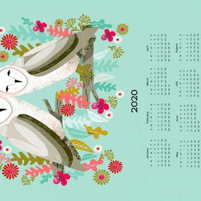 2020 Barn Owls Tea Towel Calendar by Andrea Lauren