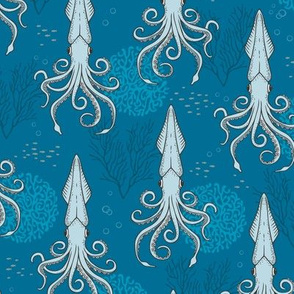 Deep under the Sea Blue Octopus Cephalopods