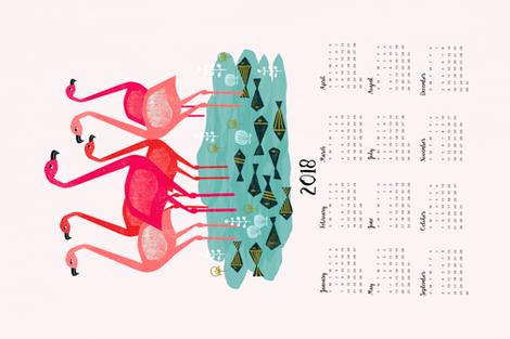 2018 Flamingo Tea Towel Calendar by Andrea Lauren  fabric by andrea_lauren on Spoonflower - custom fabric
