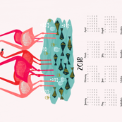2018 Flamingo Tea Towel Calendar by Andrea Lauren