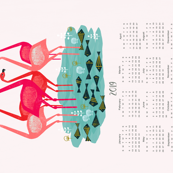 2019 Flamingo Tea Towel Calendar by Andrea Lauren
