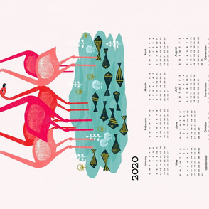 2020 Flamingo Tea Towel Calendar by Andrea Lauren