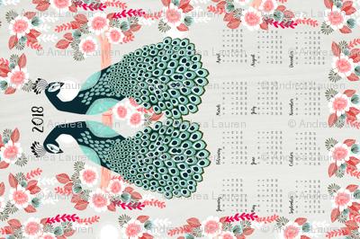 2018 Peacock Tea Towel Calendar by Andrea Lauren