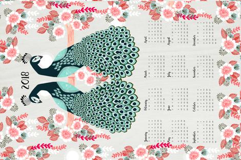 2018 Peacock Tea Towel Calendar by Andrea Lauren  fabric by andrea_lauren on Spoonflower - custom fabric