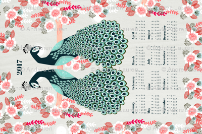 2017 Peacock Tea Towel Calendar by Andrea Lauren