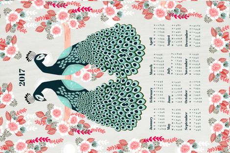 2017 Peacock Tea Towel Calendar by Andrea Lauren  fabric by andrea_lauren on Spoonflower - custom fabric