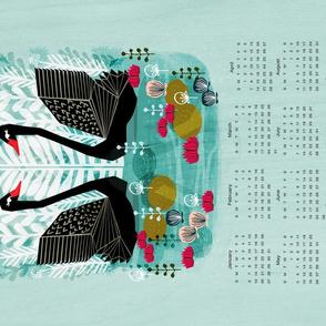 2019  Swans Tea Towel Calendar by Andrea Lauren