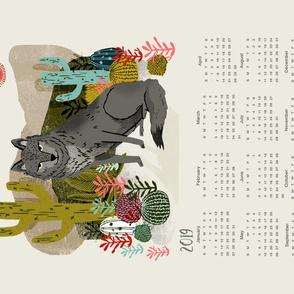 2019 Wolf Tea Towel Calendar by Andrea Lauren
