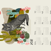 2018 Wolf Tea Towel Calendar by Andrea Lauren