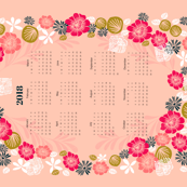 2018 Flower Wreath Tea Towel Calendar by Andrea Lauren