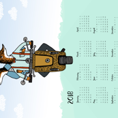 2018  Foxes Vespa Tea Towel Calendar by Andrea Lauren