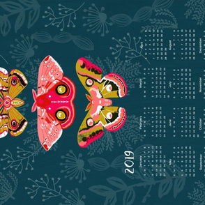2018 Moths Tea Towel Calendar by Andrea Lauren
